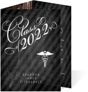 Elegant Chalkboard Swirls Medical Graduation Invitation