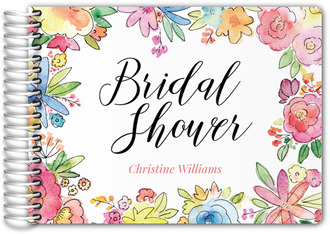 Colorful Watercolor Floral Bridal Shower Guest Book
