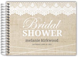 Vintage Burlap Lace Bridal Shower Guest Book