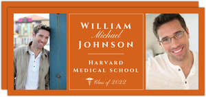 Orange and White Medical School Graduation Announcement