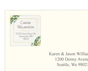 Green Watercolor Foliage Wreath Graduation Address Label