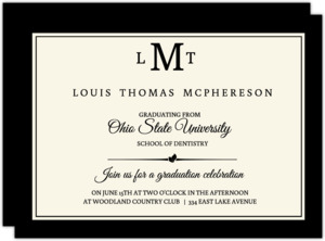 Monogram Cream And Black Formal Dental School Grad Invite