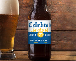 Blue & Yellow Celebrate Birthday Beer Label