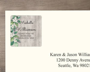 Delicate White Flower And Wood Graduation Address Label