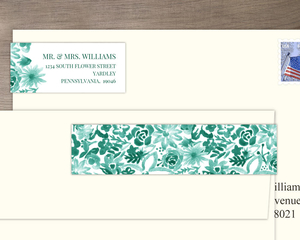 Green Watercolor Floral Pattern Address Label
