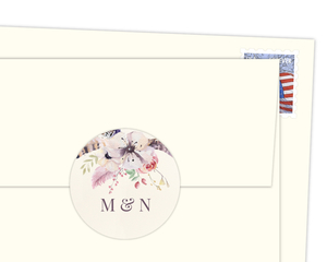 Feathers And Floral Round Envelope Seal