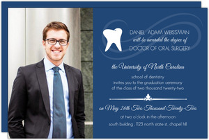 Navy Blue Dental School Graduation Invitation