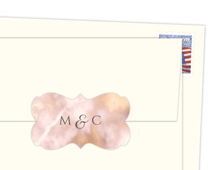 Elegant Blush and Faux Gold Marble Envelope Seal