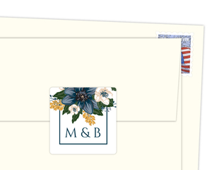 Modern Blue Floral Envelope Seal