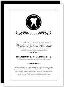 Elegant Black Monogram Graduation Announcement