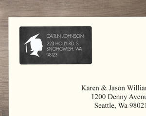Chalkboard Silhouette Graduation Address Label