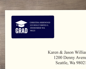 Navy Blue And White Cap Graduation Address Label