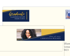 Modern Dotted Angle Graduation Address Label