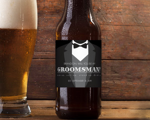 Tuxedo Will You Be My Groomsman Beer Label
