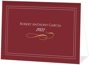 Graduation Announcement Red and Gold Formal