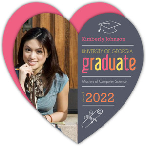 Graduation Invitation Gray and Pink Heart