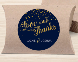 Faux Gold Foil Midnight Stars Favor Label