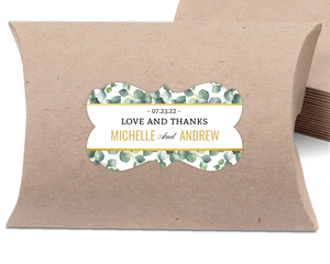 Green Watercolor Leaves Favor Label