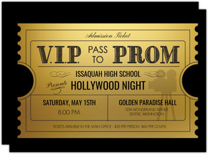 VIP Ticket To Prom Invitation