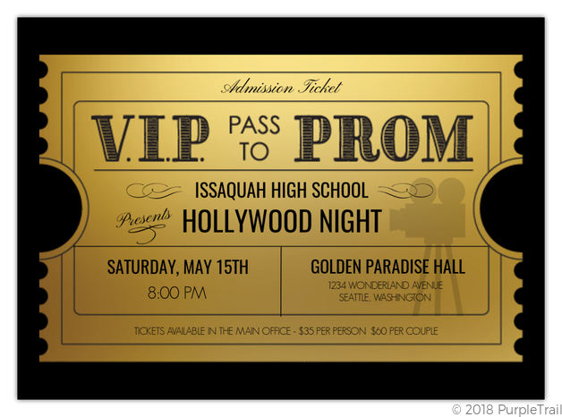 vip ticket to prom invitation prom invitations