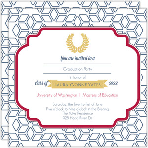 Graduate School Announcement Blue and Gold Laurel Wreath