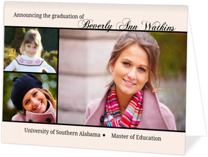 Light Pink Folded Photo Grad School Invite
