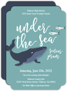 Blue Whale Under The Sea Prom Invitation