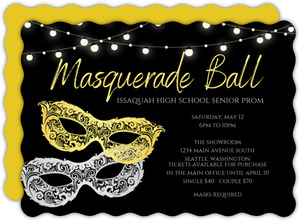 Silver Gold Masks Prom Invitation