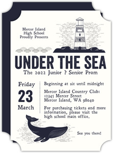 Vintage Under The Sea Illustrative Prom Invitation