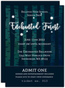 Glowing Enchanted Forest Prom Ticket