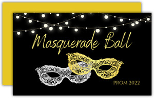 Silver Gold Masks Prom Ticket