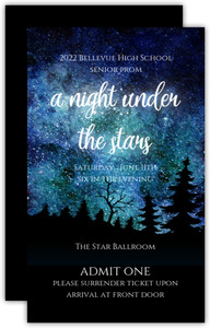 Night Under The Stars Watercolor Prom Ticket