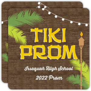 Woodgrain Tiki Hut Luau Prom Invitation