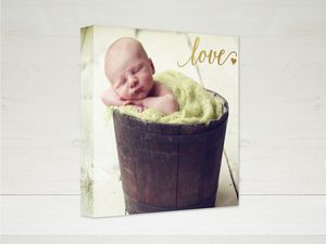 Baby Love Faux Foil Canvas 12x12