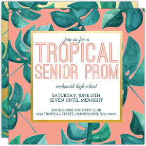 Tropical Watercolor Leaf Prom Invitation