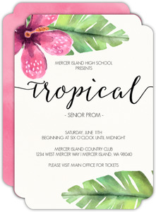 Pink Watercolor Flower Tropical Prom Invitation