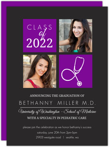 Purple Med School Graduation Invitation
