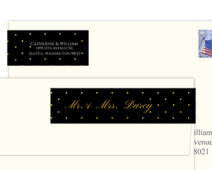 Black And Faux Gold Confetti Address Label