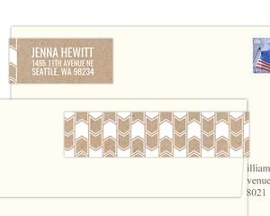 Kraft And White Chevron Pattern Address Label