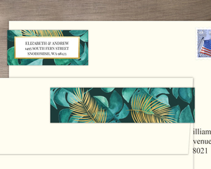 Faux Foil And Green Watercolor Foliage Address Label