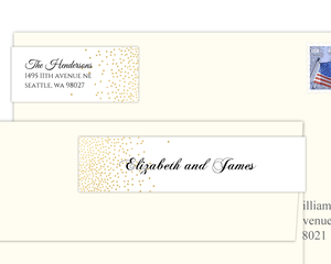 Elegant Faux Gold Foil Confetti Address Label