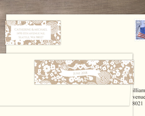 Kraft Paper And White Floral Print Address Label
