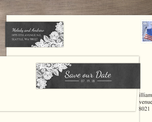 Chalkboard And White Lace Save Our Date Address Label