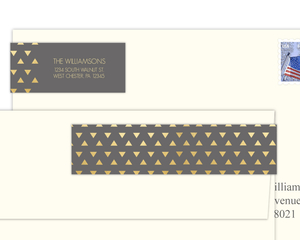 Faux Foil Triangle Geometric Pattern Address Label