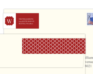 Red And White Moroccan Pattern Address Label