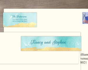 Faux Gold Brushstrokes And Blue Watercolor Address Label