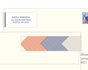 Layered Diagonal Stripes Address Label