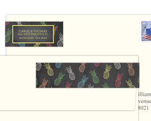 Colorful Chalkboard Pineapples Address Label