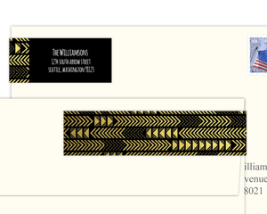 Faux Gold Foil Chevron Pattern Address Label