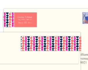 Pink And Blue Sketch Pattern Address Label